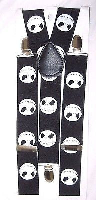 Unisex WIDE BLACK WITH WHITE SKULLS AND CROSSBONES Y-Back suspenders-New!VERS2