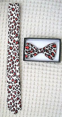 Red Leopard Cheetah Animal Print Adjustable Bow tie & Red Leopard Necktie Combo