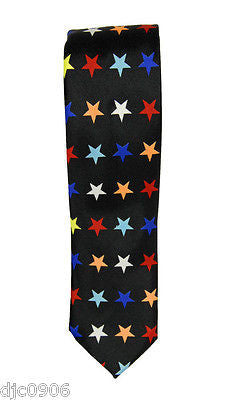 "Unisex Multi Color Stars on a Black Neck tie 56"" L x 2"" W-Multi Colored Tie-New"