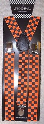 Unisex Black and Neon Orange Checkered AdjustableY-Style suspenders-New in Pkg