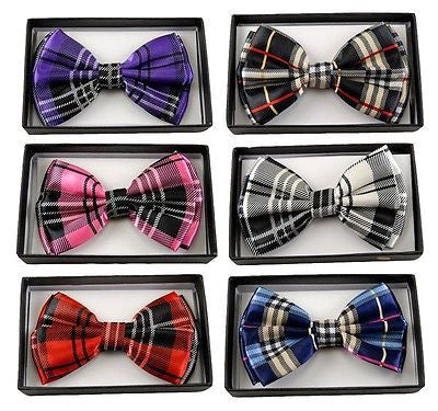 BLACK SILVER WHITE PLAID TUXEDO ADJUSTABLE  BOW TIE BOWTIE-NEW!PLAID BOW TIE