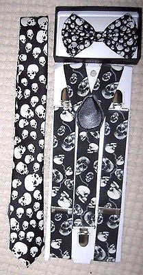 Unisex Small Skulls, Skulls Design Neck Tie,& Wide Skulls Suspenders Combo-New2