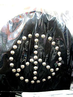 Silver Studded Peace Sign Symbol Black Winter Knitted Skull Beanie Ski Cap-New!