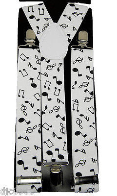 THICK  WHITE WITH BLACK MUSICAL NOTES Adjustable Y-Style Back suspenders-New!