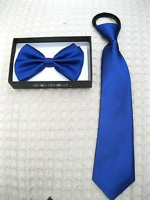 Kids Teens Blue Adjustable Bow Tie & Blue Adjustable Pre-Tied Tie Combo Set-New!