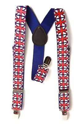 UK British England Red,White,& Blue Adjustable Y-Back Suspenders-New in Pkg!