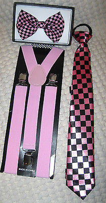 Pink Black Checkered Bow Tie,Matching Pre-Tied Neck tie&Pink Suspenders Set-New