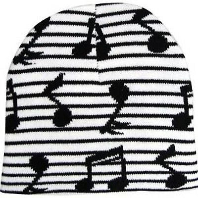 Black Musical Notes Black&White Stripes Winter Knitted Skull Beanie Ski Cap-New!