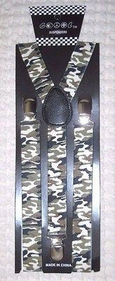 "ARMY MARINES CAMO CAMOUFLAGE 1"" Adjustable Y-Style Back suspenders-New!"