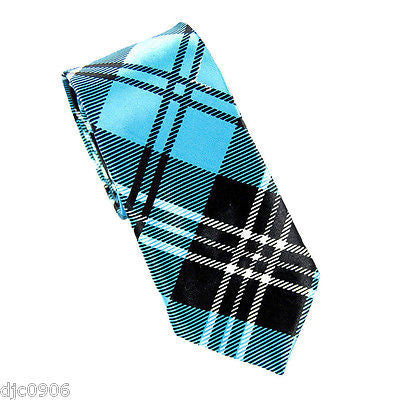 "Unisex  Aqua Turquoise Blue Gorgoyle Plaid Pattern Neck Tie 56"" L x 2"" W-New!!"