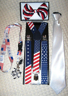 US Flag American Flag Suspenders and Solid White Pre-Tie NeckTie Combo Set-New!