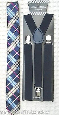 Blue Black Gargoyle Plaid  Necktie & Navy Dark Blue Suspenders Combo Set-New!