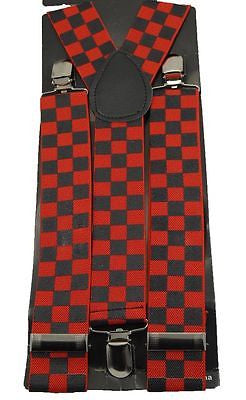 Unisex Wide Black Red Checkered Adjustable Y-Style Back suspenders-New in Pkg