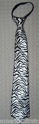 "Teens Black & White Thick Zebra Stripes Adjustable 14"" Pre-tied Necktie-New!"