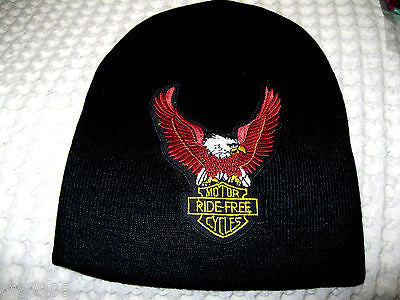 Bald Eagle Motor Ride Free Cycles Embroidered on Black Beanie Ski Hat Cap Beanie