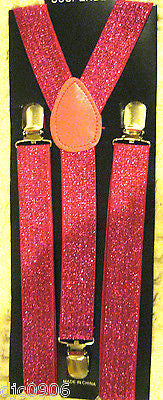 Neon Pink Adjustable Bow Tie & Neon Pink Glittered Adjustable Suspenders Set-New