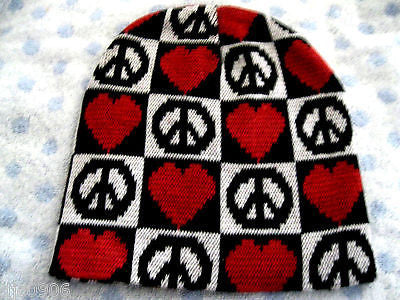 Peace Signs Symbols,Hearts,Black/White Checker Winter Knitted Skull Beanie -New!