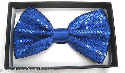 BG SKY BLUE LIGHT BLUE SEQUIN ADJUSTABLE TUXEDO BOWTIE BOW TIE-NEW GIFT BOX!