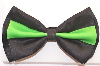 BLACK WITH NEON GREEN TWO TONE TUXEDO ADJUSTABLE BOWTIE BOW TIE-NEW BOX!