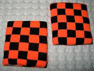 Neon Orange and Black Checker Checkered Diamonds Wristbands Sweatbands PAIR-New