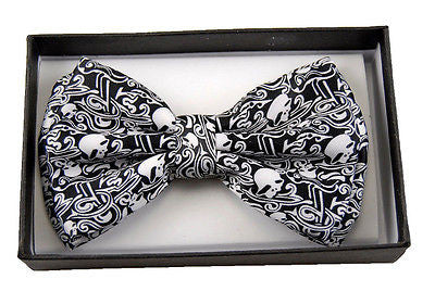 BLACK AND WHITE SKULLS DESIGNS  ADJUSTABLE  BOW TIE-NEW GIFT BOX!