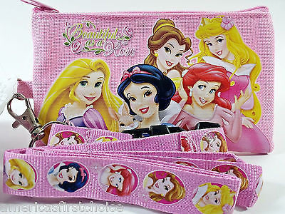 DISNEY PRINCESS BEAUTIFUL AS A ROSE DETACHABLE COIN POUCH/WALLET & LANYARD-NEW!