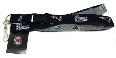 Patriots White Licensed NFL Keychain/ID Holder Detachable Lanyard-Brand New!