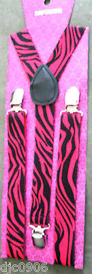 Pink Black Tips Bow tie & Pink Black Leopard Animal Print Suspenders Combo-New!