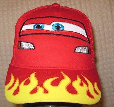 Disney Cars Lightning McQueen Flames Screen Print Adjustable Baseball Cap/Hat