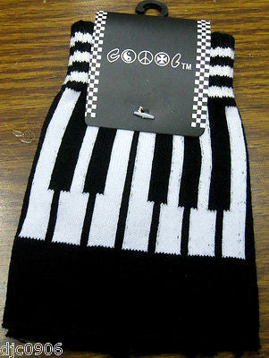 BLACK MUSICAL PIANO KEYBOARD CUTOFF KNIT FINGERLESS WINTER GLOVES-NEW!