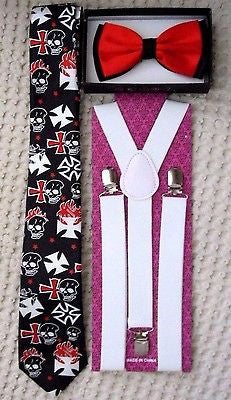 Black with White Flaming Skulls+Crosses Necktie+WHITE Adjustable Suspenders Set