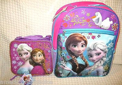 "Frozen Elsa Anna 16"" Backpack,Lunch Bag,Party Bags,Jump Rope,Puzzle,Lip Balm-v3"