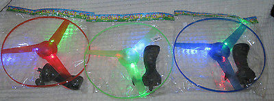 Green,Red,& Blue LIGHTUP Zoom fly COPTER helicopter NEW UFO LIGHT DISC-3 NIP!