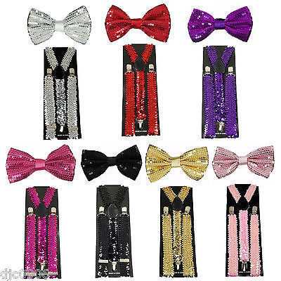 HOT PINK Sequin Y-Shape Back Adjustable Suspenders Unisex,Men,Women-New