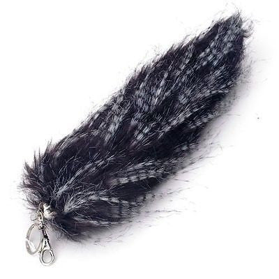 "SOLID BLACK WITH WHITE STREAKS FUR FOX TAIL FOXTAIL KEYCHAIN 12"" CLIP-BRAND NEW!"