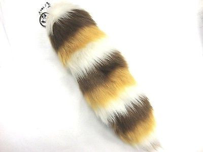 WHITE BROWN GOLD STRIPS FAUX FOX TAIL KEYCHAIN RING PURSE TASSLE BELT CLIP 12""
