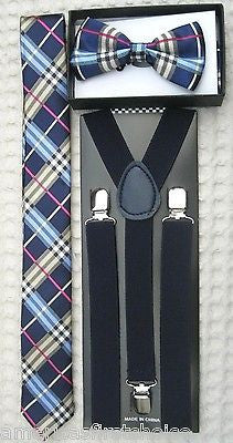 Blue Gargoyle Plaid Adjustable Bow Tie & Navy Dark Blue Suspenders Combo Set-New