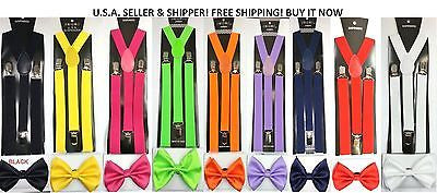 Solid White Adjustable Bow Tie & Black/White Stripes Adjust Suspenders Combo-New