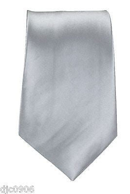 "Unisex Solid Gray Silver Silk Feel Polyester Neck tie 56"" L x 3"" W-Gray Tie-New"