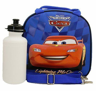 Disney Cars Lightning McQueen Blue Lunch Bag with Water Bottle & Strap-New!