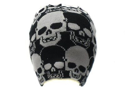 Black & White Skulls Winter Knitted Skull Beanie Ski Cap-New!Skulls Beanie Cap