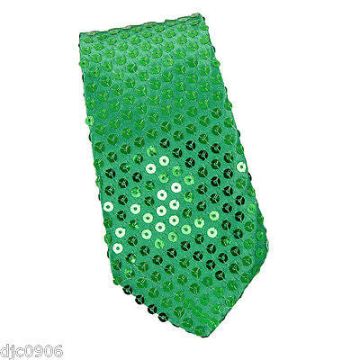 "Unisex Goth Men's Forest Green Sequin Wedding Fashion Neck tie 56"" L x 3"" W-New"