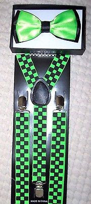 Green and Black 2 Tone Bow tie+Green Black Checkered Adjustable Suspenders Set