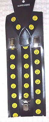Yellow Music Notes Smiley Faces Y-Shape Back Adjustable Suspenders-New in Pkge!