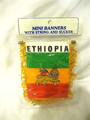 Ethiopia Mini Banner-Ethiopia Rasta Mini Flag with Suction Cup-Brand New!