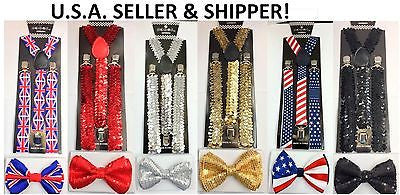 Black Red White Gargoyle Diamonds Adjustable Bow tie and White Suspenders Combo