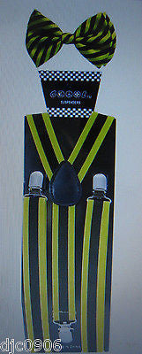 Black Yellow Stripes Adjustable Bow Tie & Black Yellow Stripes Suspenders Combo