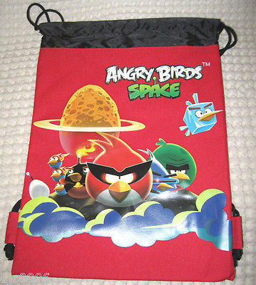 ANGRY BIRDS SPACE RED AND BLACK DRAWSTRING BAG BACKPACKS TRAVEL STRING POUCHES