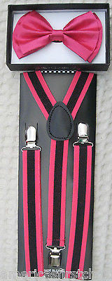 Pink Adjustable Bow tie & Pink  Black Stripes Adjustable Suspenders Combo-New