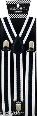Unisex Black & White Stripes Thick Stripes Adjustable Y-Style Back suspenders-v2